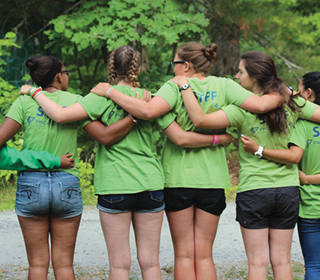 camp staff, green staff shirts